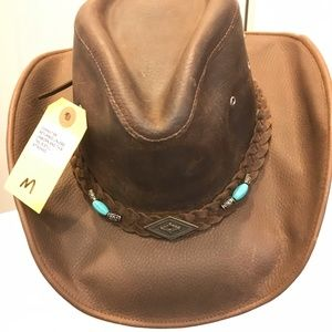 Cowboy Hat Leather with Detail Size Medium